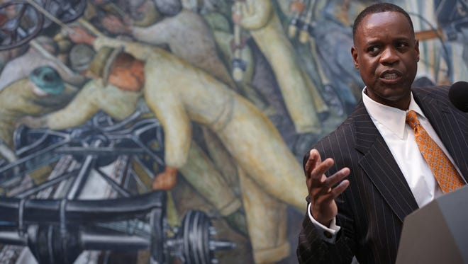 Detroit emergency manager Kevyn Orr speaks June 9 inside the Rivera Court at the Detroit Institute of Arts.