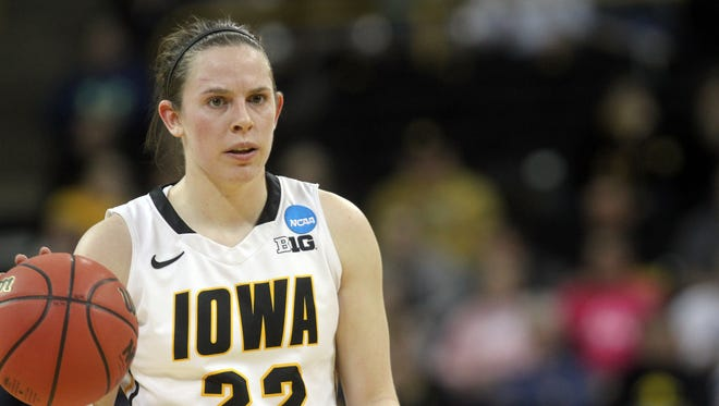 Iowa's Samantha Logic takes the ball down court during the Hawkeyes' first round NCAA Tournament game against Marist at Carver-Hawkeye Arena last season.