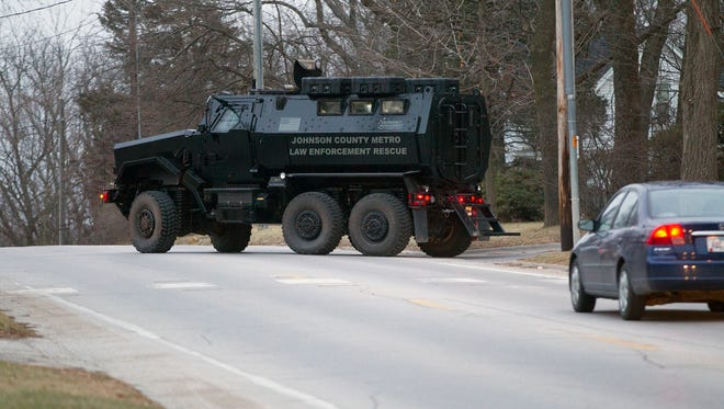 An undated photo of Johnson County's Mine Resistant Ambush Protected vehicle turning onto Benton Street.