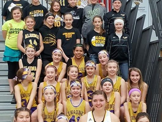 A group of fifth- and sixth-grade basketball players from Algoma and Kewaunee competed at halftime of the University of Wisconsin-Oshkosh women's basketball game on Feb. 4. Algoma native Taylor Schmidt and Kewaunee native Alex Richard are seniors for the Titans.