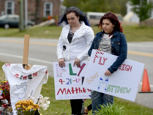 Mourners came to visit the memorial of Matthew Gowen