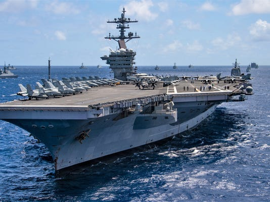 USS Carl Vinson sails with partner nations during RIMPAC