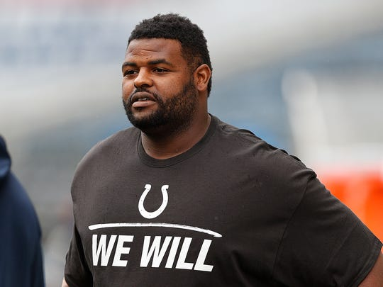 Indianapolis Colts defensive end Johnathan Hankins (95) before the start of their game at CentryLink Field in Seattle Sunday, Oct 1, 2017.