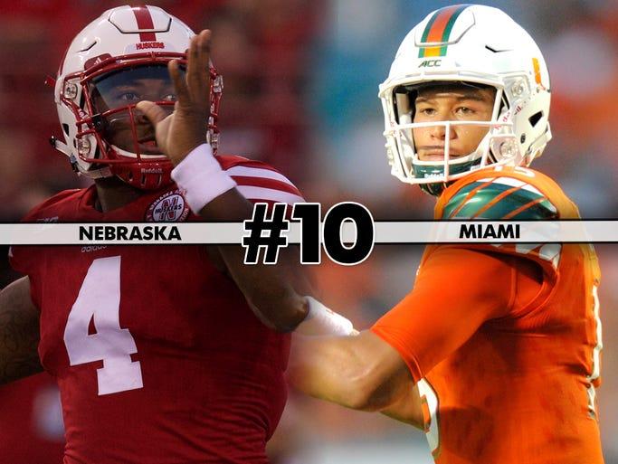 Nebraska at Miami, Saturday at 3:30 p.m. ET on ESPN2