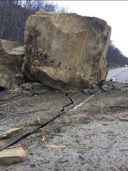 A boulder slide closed Route 7 in Chesapeake, Ohio