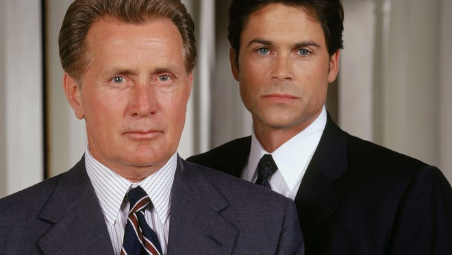 "Martin Sheen, left, stars as President Josiah Bartlet and Rob Lowe as Deputy Communications Director Sam Seaborn on NBC's ""West Wing."""