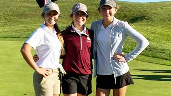 Osage's Sydney Riley (left), Hannah Maschhoff (center) and Sophia Sindlinger (right) earned state bids at the Class 2 District 2 Tournament at Eagle Knoll Golf Club in Hartsburg on October 12.