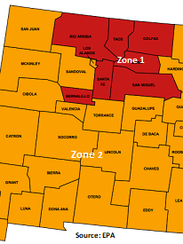 Radon zones in New Mexico.