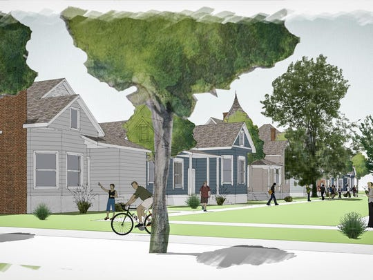 Renderings show what it might look like if 11 of the 12 historic houses on Center and Ninth streets are moved to the city of Reno-owned Evans Park. The proposal envisions a collection of commercial uses for the houses.