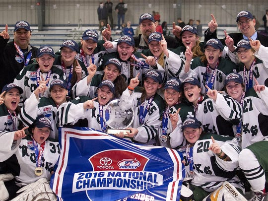 The Vermont Shamrocks U-19 team celebrates its USA Hockey Tier II national championship victory over the Connecticut Northern Lights at Cairns Arena in April.
