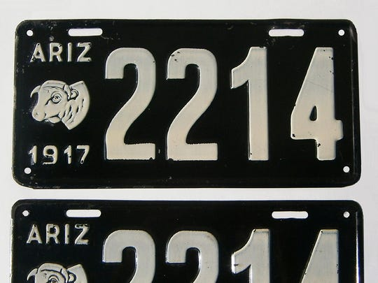 Images of the 1917 Arizona license plate, the first, according to a Supreme Court brief, to feature a logo.