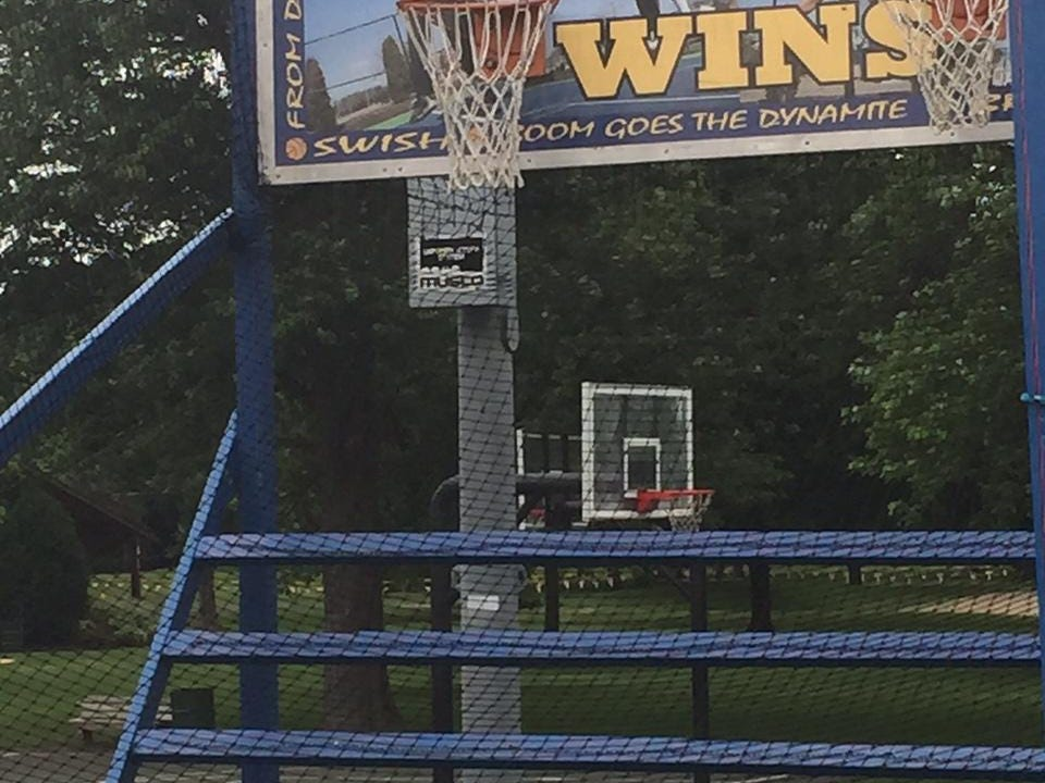 Gregg Doyel went to Lebanon repeatedly to try to catch former Lebanon and Purdue great Rick Mount shooting hoops. No luck. Doyel did find this carnival game one week. In the background, he could see the court where Mount reportedly shoots.