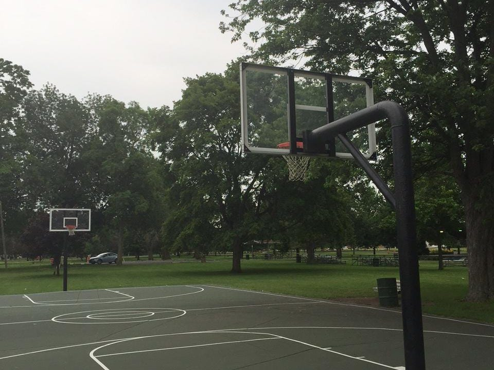 The basketball court at Memorial Park in Lebanon where Rick Mount has shot baskets in the morning for years.