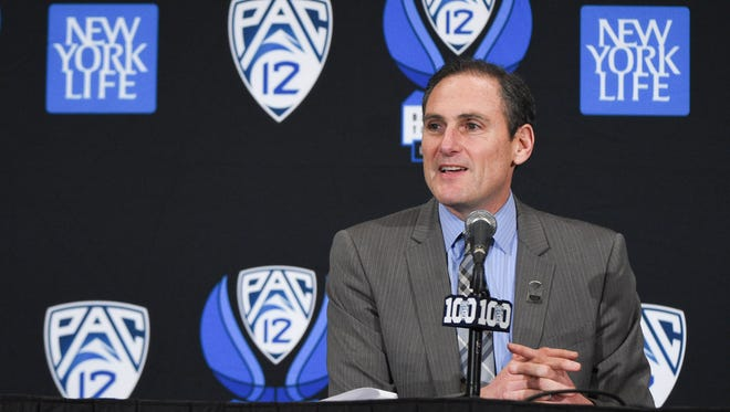 March 11, 2016; Las Vegas, NV, USA; Pac-12 commissioner Larry Scott addresses the media in a press conference before the semifinals of the Pac-12 Conference tournament between the Oregon State Beavers and the California Golden Bears at MGM Grand Garden Arena.