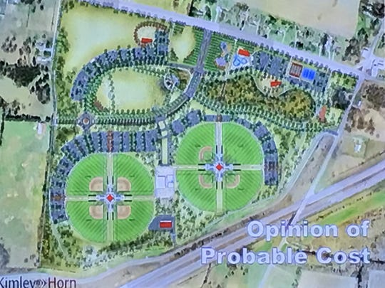 The updated plan for Blackman Park includes eight ball fields, an amphitheater, open play areas, a playground, a splash pad and a multi-use space including indoor batting cages.