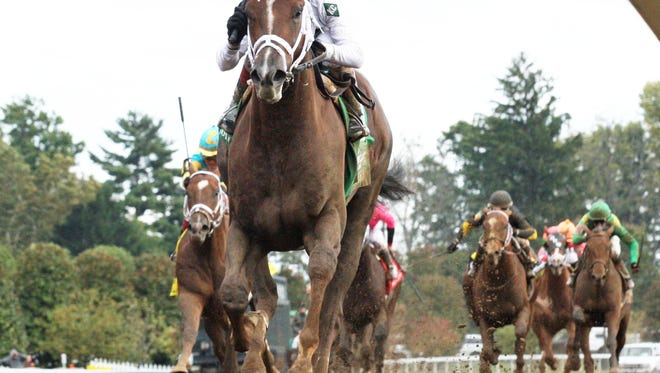 Carpe Diem, shown winning last fall's Claiborne Breeders' Futurity at Keeneland, will be the strong favorite to win Saturday's $1 million Toyota Blue Grass.