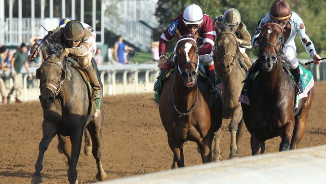 GOT LUCKYThe Juddmonte Spinster Gr 1 - 60th RunningKeeneland Race Course     Lexington, KentuckyOctober 4, 2015    Race #09Purse $500,0001-1/8 Miles  1:49.44Philip J. Steinberg & Hill 'n' Dale Equine, OwnersTodd Pletcher, TrainerIrad Ortiz, Jr., JockeyUntapable (2nd)Yahilwa (3rd)$9.20 $4.20 $3.20Please Give Photo Credit To:  Keeneland / Coady Photography