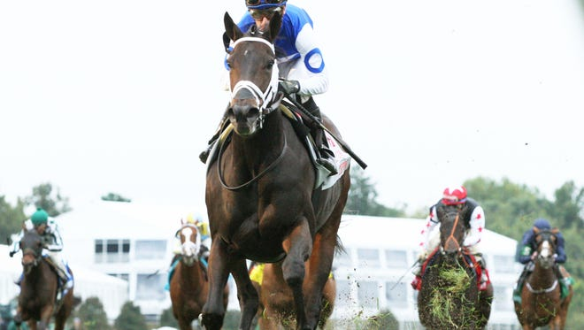Tepin, ridden by Julien Leparoux, earned a shot at the Breeders' Cup Mile on turf against boys by taking Keeneland's First Lady in dominate fashion.