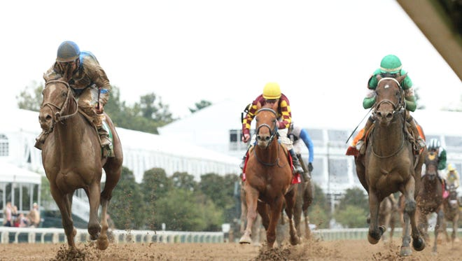Brody's Cause, under Corey Lanerie, outfinished Exaggerator (rail) to capture Keeneland's Grade I Claiborne Breeders' Futurity.