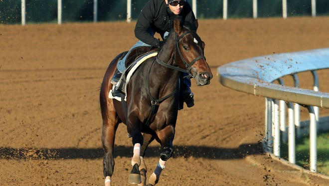 Cocked and Loaded, with work jockey Jose Valdivia up, in a recent workout at Keeneland. The colt will run in the Breeders' Cup Juvenile with Irad Ortiz riding.