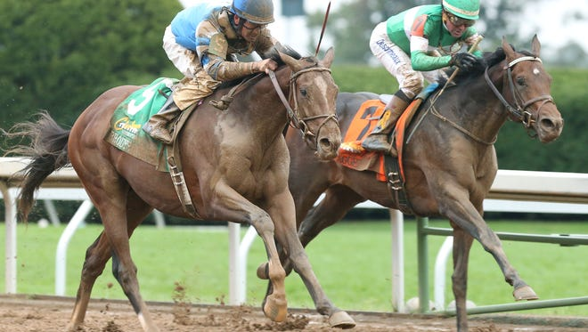 BRODY'S CAUSEThe Claiborne Breeders' Futurity Gr I - 102nd RunningKeeneland Race Course     Lexington, KentuckyOctober 3, 2015    Race #08Purse $500,0001-1/16 Miles  1:43.27Albaugh Family Stable, OwnerDale L. Romans, TrainerCorey J. Lanerie, JockeyExaggerator (2nd)Rated R Superstar (3rd)$25.60 $10.60 $5.40Please Give Photo Credit To: Keeneland / Coady Photography