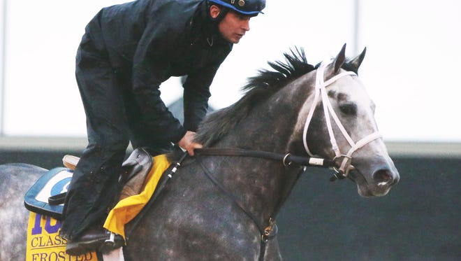Frosted works at Keeneland on Wednesday, Oct. 28, in preparation for Saturday's $5 million Breeders' Cup Classic.