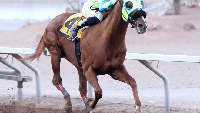 Alsono wins the KLAQ Handicap Saturday at Sunland Park Racetrack & Casino.