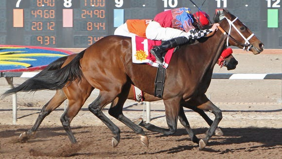 Jockey Ry Eikleberry pushes My Bikini Fell Off past Hurricane Hush (inside) approaching the finish line in Sunday's $85,000 New Mexico State Racing Commission Handicap at Sunland Park Racetrack and Casino.