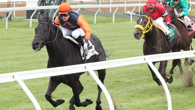 Shakhimat scored a front-running win Friday in Keeneland's Transylvania Stakes.