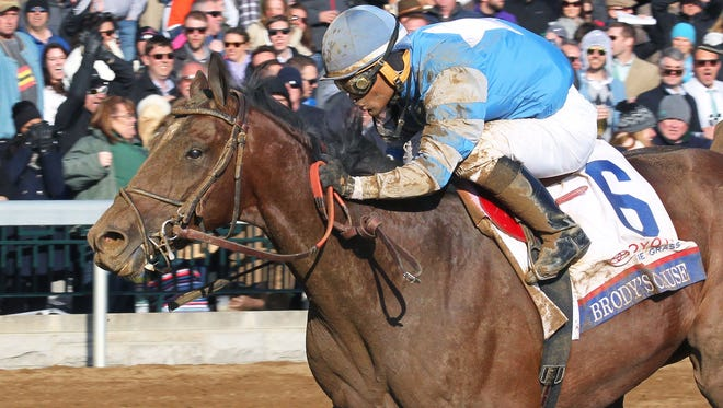Brody's Cause pulled away Saturday to win Keeneland's Blue Grass Stakes.