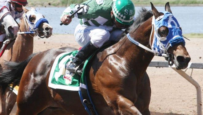 Eyema Blue Wagon won Saturday's 300-yard West Texas Futurity at Sunland Park Racetrack & Casino.