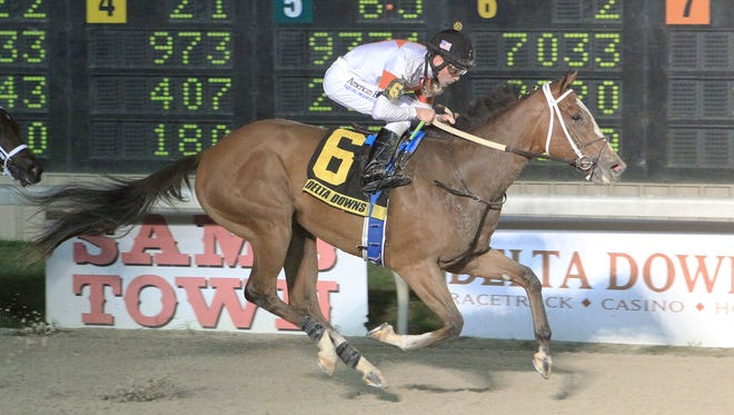 On Friday night, Golden Mischief took the $100,000 race for 2-year-old fillies with jockey Gerard Melancon at Delta Downs.