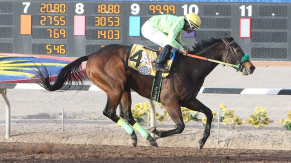 Conquest Mo Money won Sunday's Mine That Bird Derby at Sunland Park Racetrack & Casino. Jorge Carreno was the winning jockey.