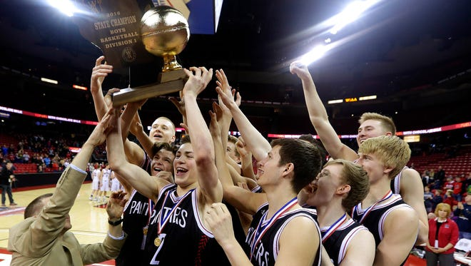 Stevens Point will be going for its third straight Division 1 boys state basketball title.