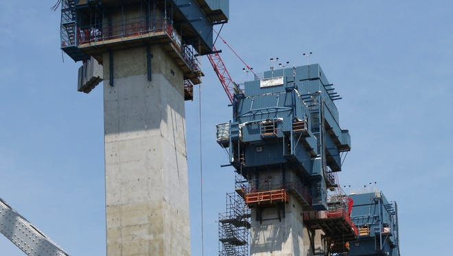 The main support towers for the new Tappan Zee Bridge are shown nearly reaching their final height earlier this week.