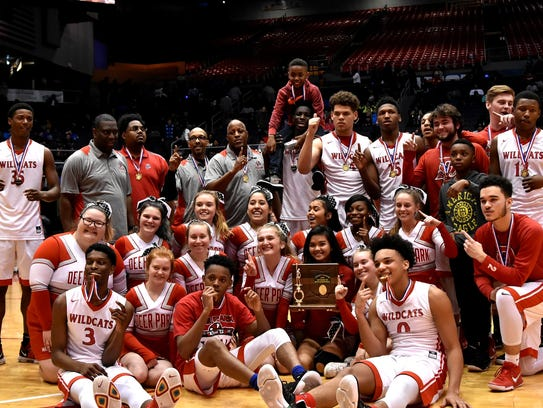 Deer Park's Wildcats celebrate their Division 3 SWDAB