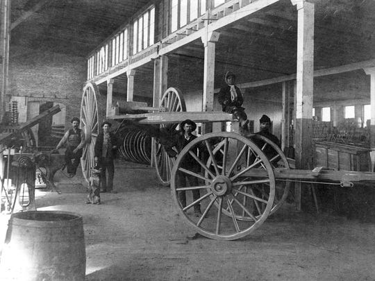 The interior of Bodley Wagon Works in about 1901, depicting