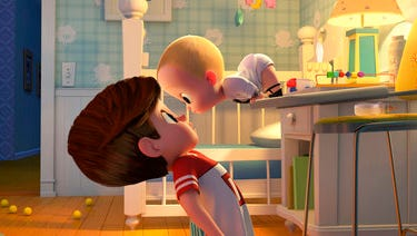 """This image released by DreamWorks Animation shows characters Tim, voiced by Miles Bakshi, left, and Boss Baby, voiced by Alec Baldwin in a scene from the animated film, """"The Boss Baby."""""""