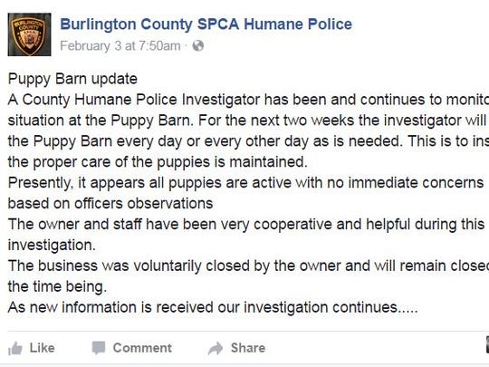 Burlington County SPCA Humane Police post about the Puppy Barn.