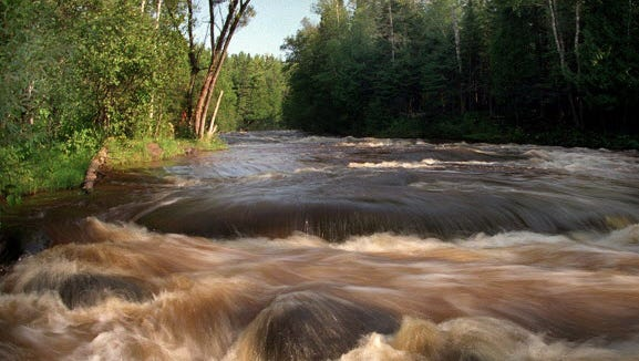The Bois Brule River rapids at Mays Ledges in Douglas County,