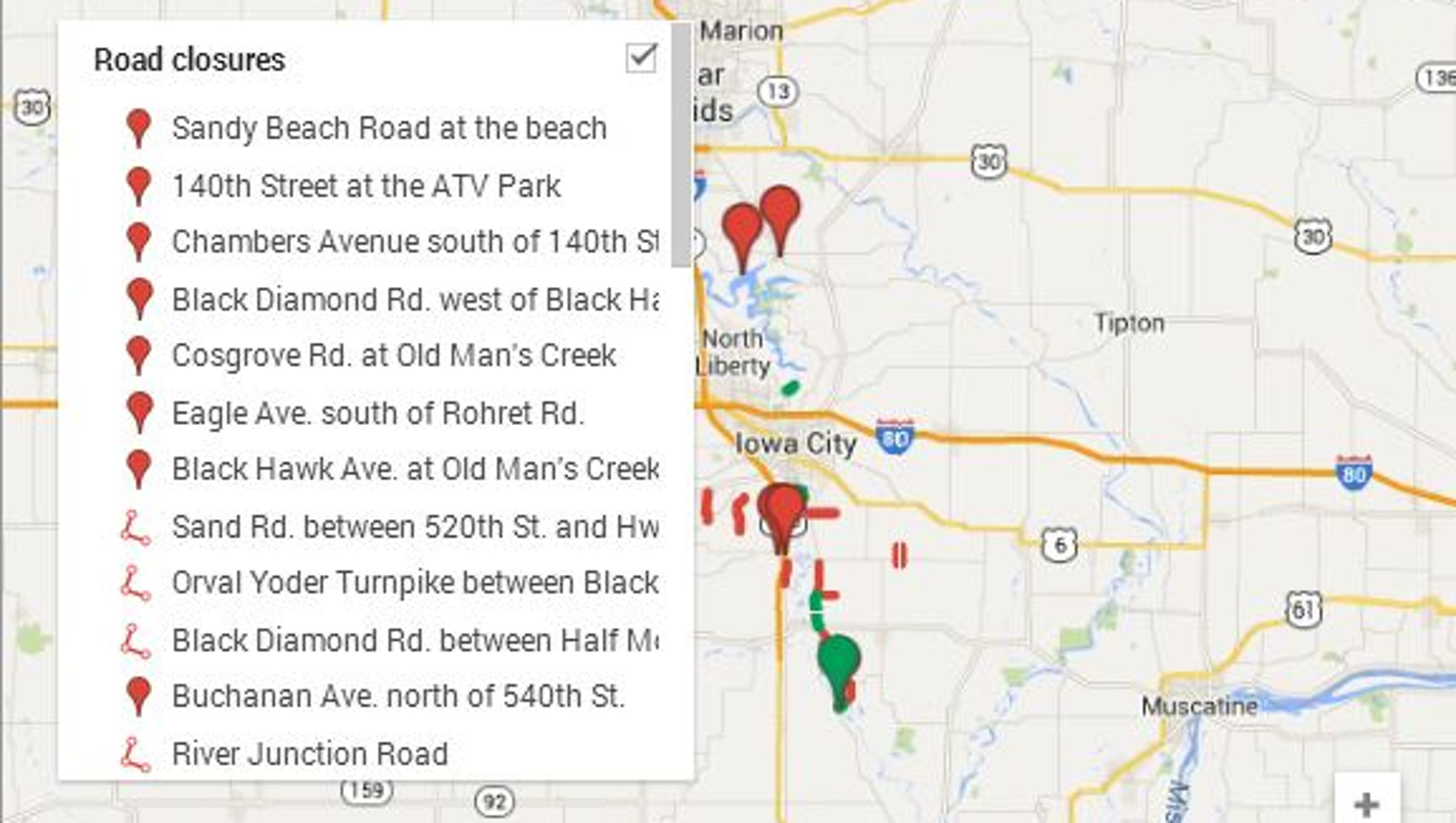 Road Conditions In Iowa Map.Interactive Map Johnson County Road Closings Evacuations