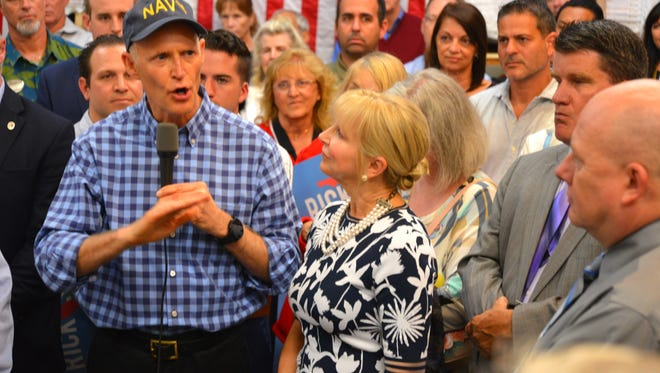 Gov. Rick Scott and First Lady Ann Scott made a campaign stop at Classic Wood Flooring in Suntree Wednesday morning where approx. 150 supports showed up for the event in the store's warehouse. Gov. Scott announced Monday that he is running for the Senate.