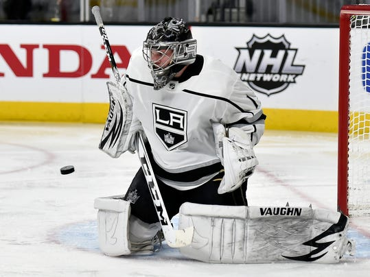 Los Angeles Kings goalie Jack Campbell defends against the Vegas Golden Knights during the second period of an NHL hockey game Tuesday, Feb. 27, 2018, in Las Vegas. (AP Photo/David Becker)