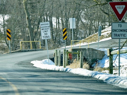 A bridge at Shinham Road near Frank Road in seen Thursday, Feb. 11, 2016.  The county is replacing two single-lane culvert bridges in Antrim Township located within a mile of each other near the intersection of Shinham and Frank roads.