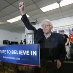 APDemocratic presidential candidate, Sen. Bernie Sanders, I-Vt. speaks during a stop Tuesday in Des Moines. Democratic presidential candidate, Sen. Bernie Sanders, I-Vt. speaks during a stop at the United Steelworkers Local 310L union hall, Tuesday, Jan. 26, 2016, in Des Moines, Iowa.