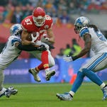 Kansas City Chiefs cornerback Sean Smith (21) reacts after making a turnover during the NFL football game between Detroit Lions and Kansas City Chiefs Wembley Stadium in London,  Sunday, Nov. 1, 2015.