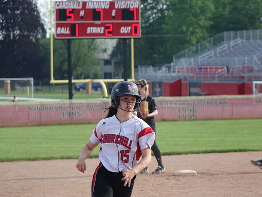 Colleen McGowan rounds the bases for Livonia Churchill during a 2016 game.