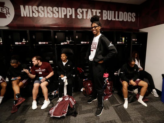 Mississippi State's Teaira McCowan poses in the locker
