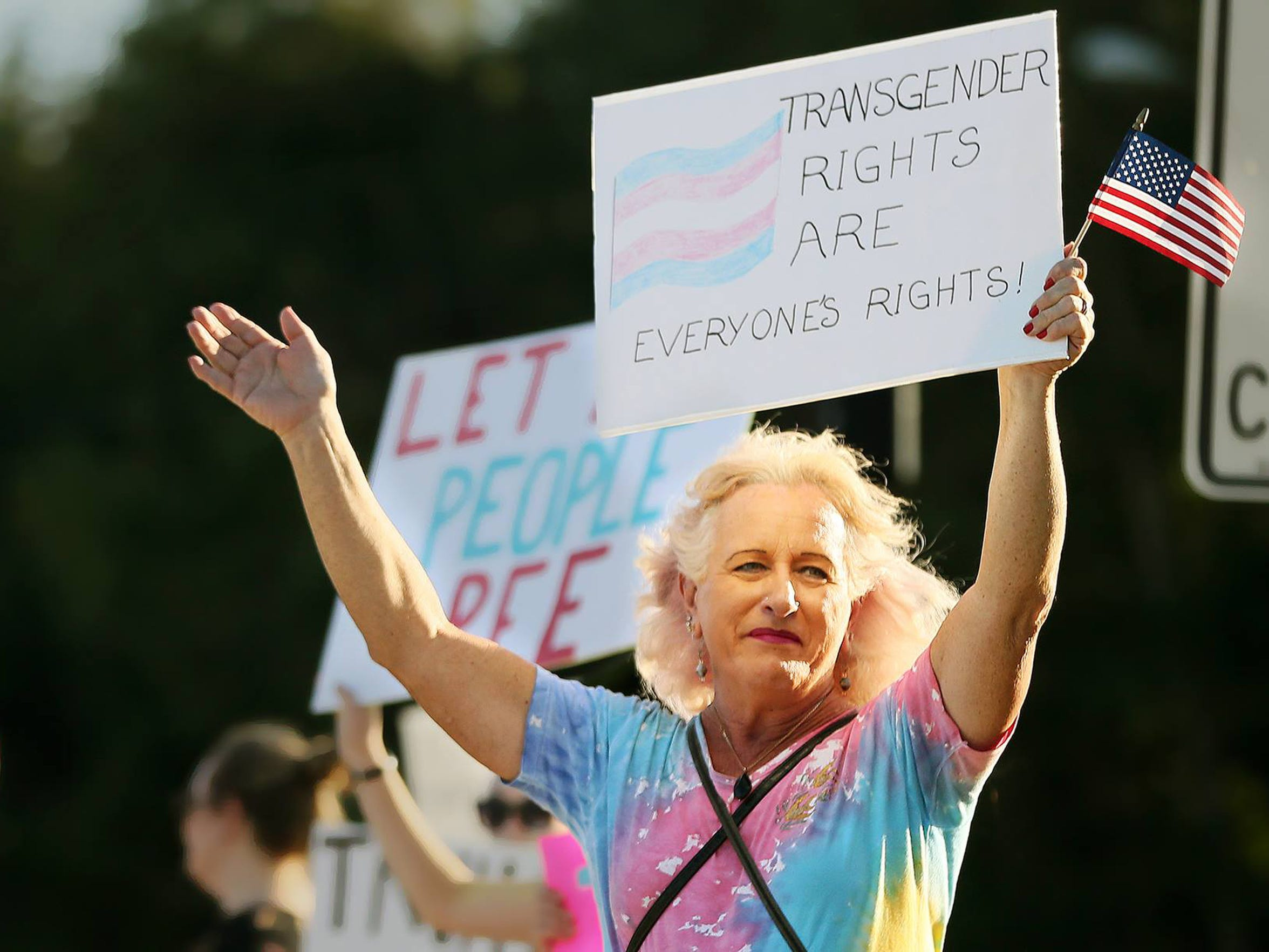 Jenna Satterfield was among more than 30 people at a February rally to support transgender youth.