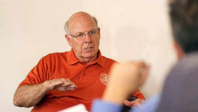 US Rep. Steve Pearce visited with Deming Headlight Reporter Algernon D'Ammassa in June as part of a state-wide tour.